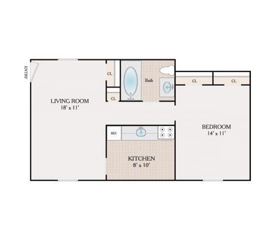 1 Bedroom, 1 Bathroom. 750 sq. ft.