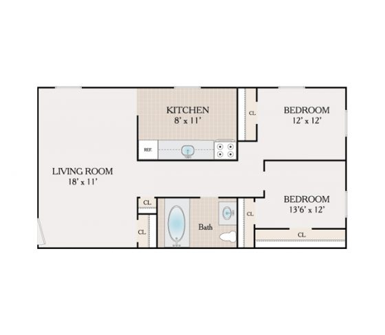 2 Bedroom, 1 Bathroom. 900 sq. ft.